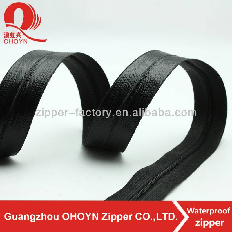 High waterproofness PVC tape shinny black nylon water resistant zipper