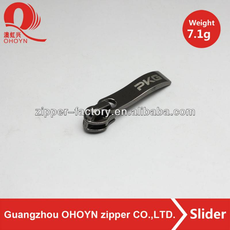7.1g gun color metal zipper slider for bag parts