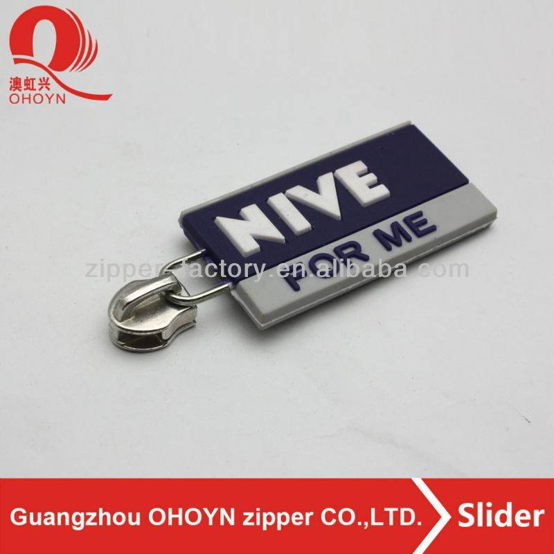 custom logo non lock rubber zipper tag
