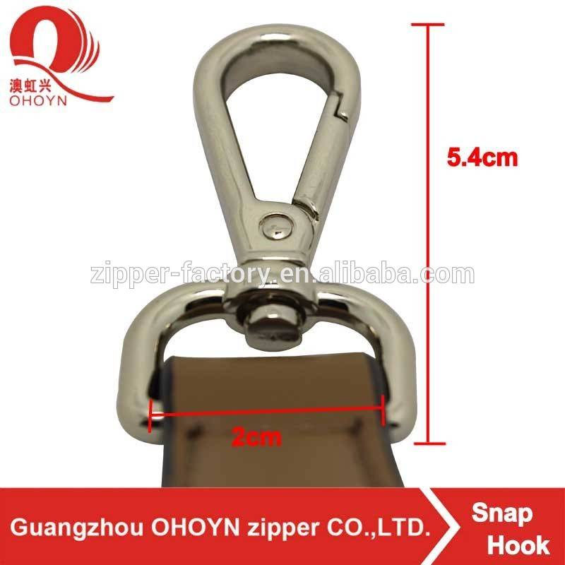 High quality light gold alloy snap hook for bag
