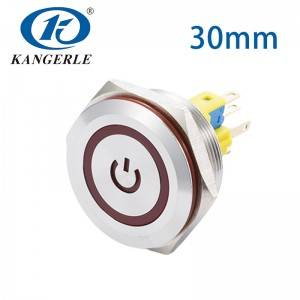 Push button switch 30mm red led