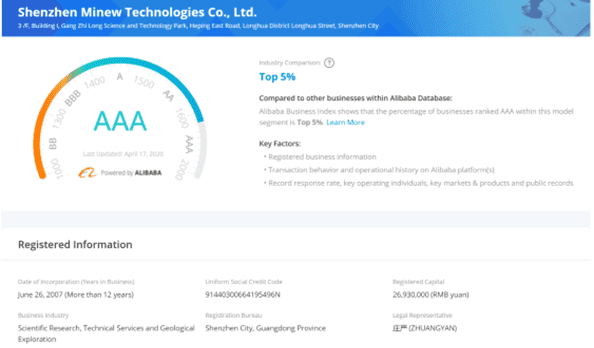 Minew wins AAA ranking in Alibaba Business Index
