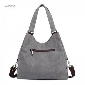 Large fashion leather canvas tote crossbody bag women