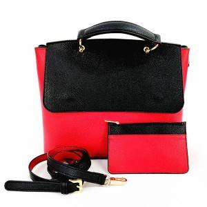 Lady ta Red da kuma Black Stitching QFontDatabase Handle Single-kafada Crossbody Bag