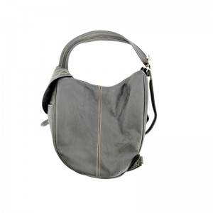 Linen Canvas PU material splicing College wind shoulder Bag