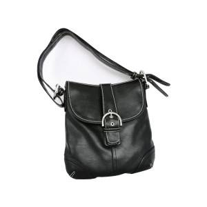 Black PU vertical wide shoulder strap bag