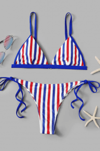 Missadola Fashion print stripe swimwear  2616