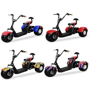 Adult 60v 20ah lithium battery citycoco fat tire 1000w 3 wheel electric scooter