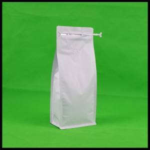 1000g Matte White Bottom Pouch with Zipper & Valve