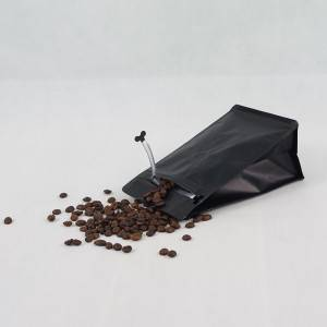 250g Matte Black Bottom Pouch with Zipper & Valve