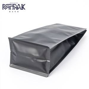 500g matte black box bottom pouch with valve & zipper