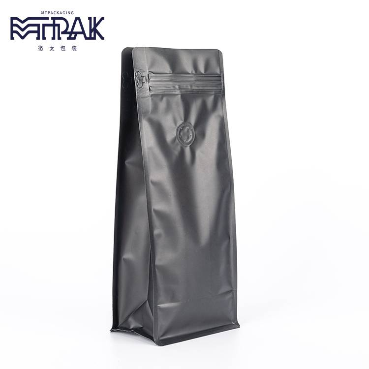 500g matte black box bottom pouch with valve & zipper Featured Image