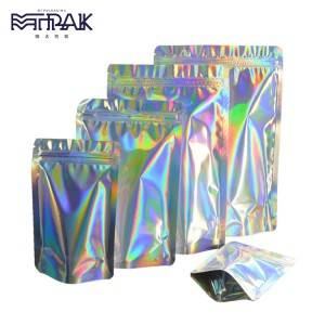 Holographic film Stand Up  Pouch with tear notch