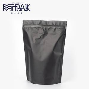250g matte black stand up bag with valve & zipper