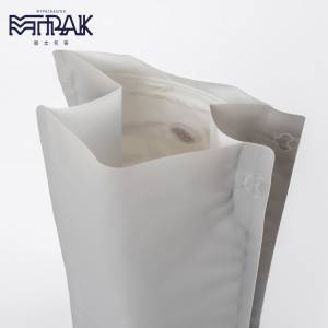 1kg rough matte grey recyclable box bottom pouch with valve & zipper