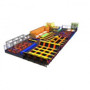 Custom colorful large commercial indoor trampoline park with basketball stand
