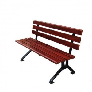Outdoor cast iron park bench wood plastic composite slats bench
