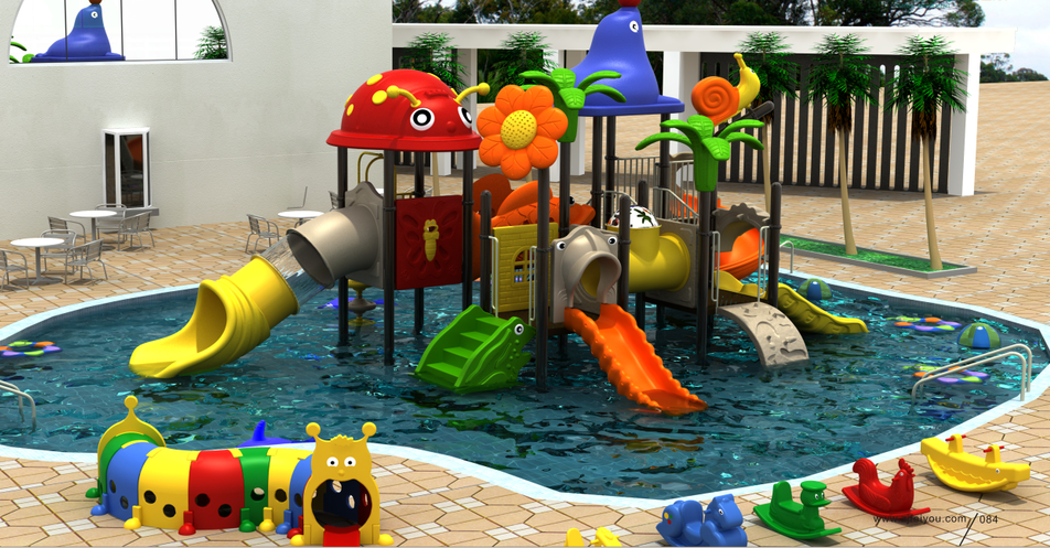 2019 Latest design Plastic water playground water house slide for kids Featured Image
