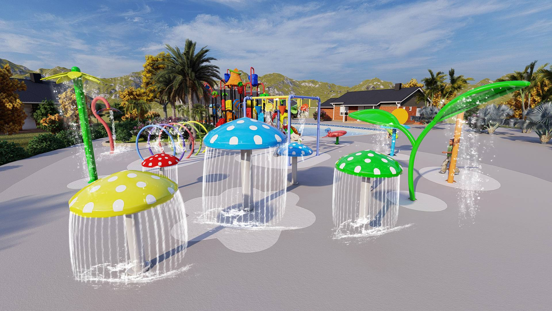 New water play pool design for customer from South Africa