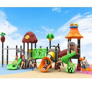 Children large public outdoor playground plastic slides