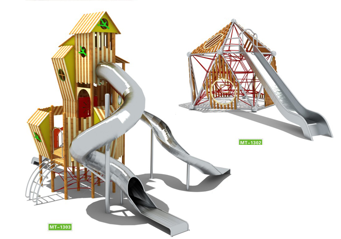 Mutong outdoor playground stainless steel tube slides playhouse Featured Image