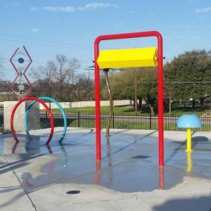 lots of water fun features for children splash park area