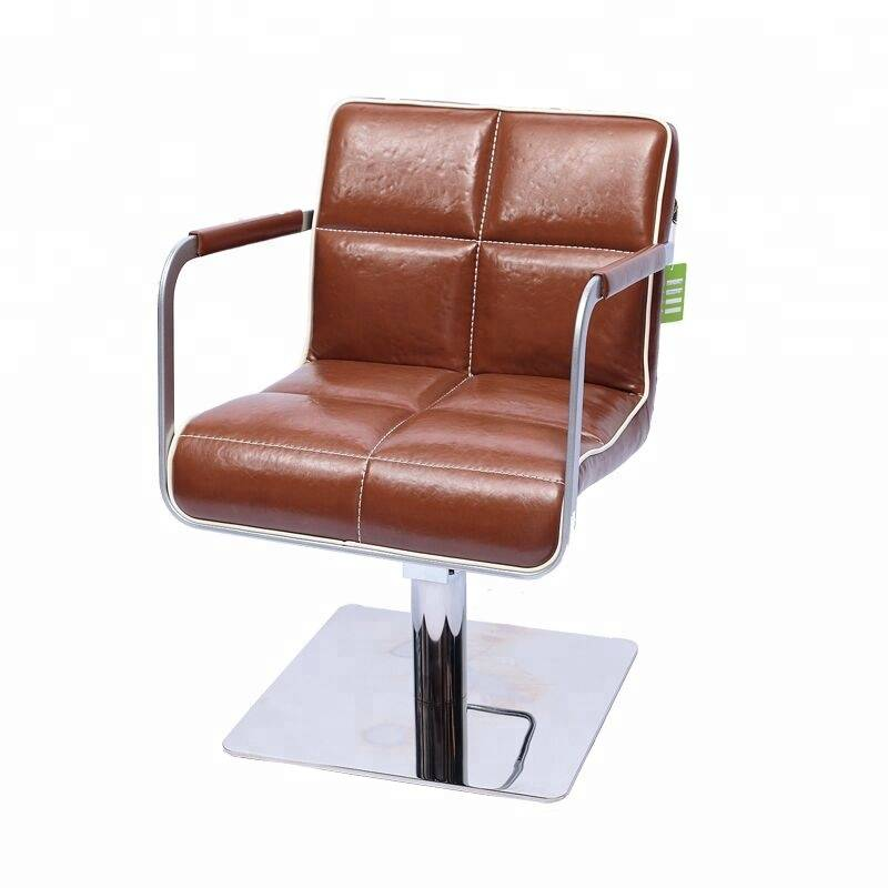 Italian style stylish beauty salon portable used brown synthetic leather barber hair cutting chairs hairdressing chair for sale