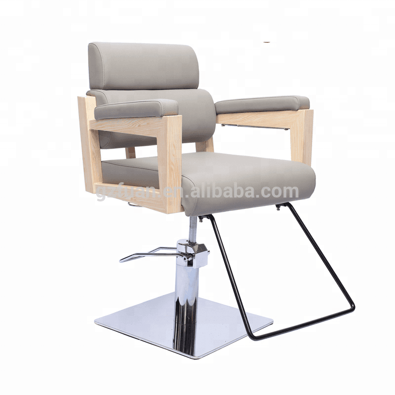 New style stainless steel wood painting armrest hair saloon chair styling chair with heavy duty hydraulic pump