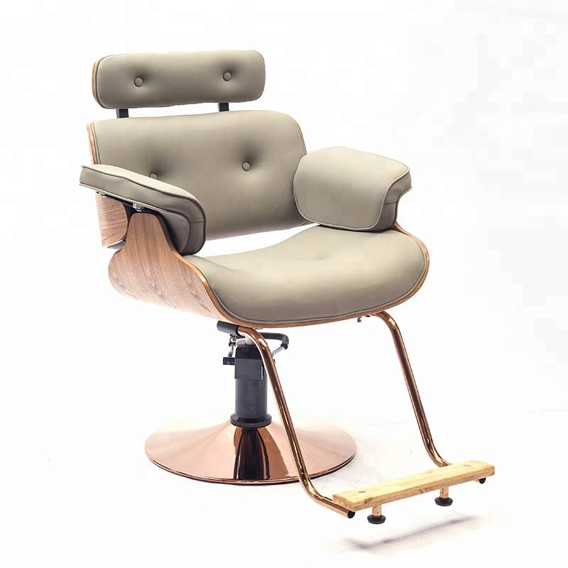 Italy style high density sponge gold painting base gold color and solid wood armrest hair cutting unique salon styling chairs Featured Image