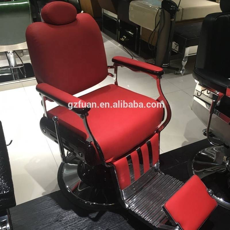 Hot sale classic fashion luxury big base pumb reclining man portable vintage durable cheap hair salon used red barber chairs