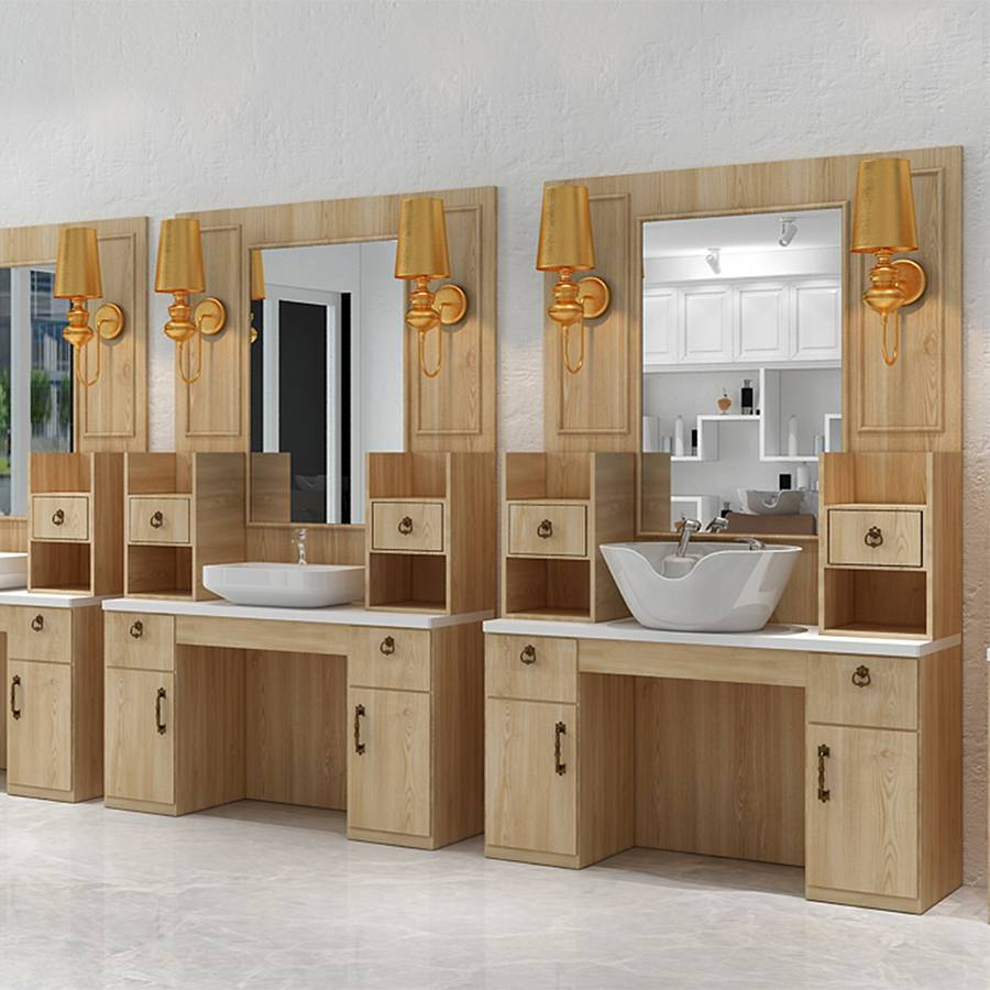 hot sale beauty styling station wooden cabinet salon mirror station