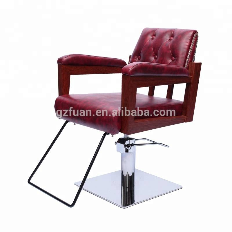 Fashion hair salon red beauty parlour durable portable salon furniture reclining hair styling chair Featured Image