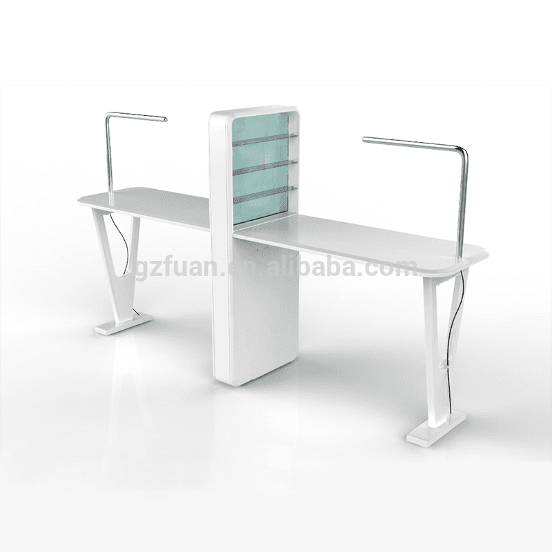 China Salon Furniture Wholesale Light Glass Showcase Double Nail Tech Desk Manicure Table For Sale Factory And Suppliers Mingyi