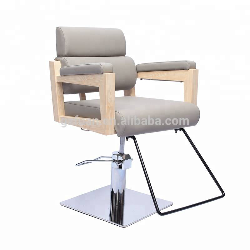 New style stainless steel wood painting hydraulic beauty chair all purpose grey salon style chair