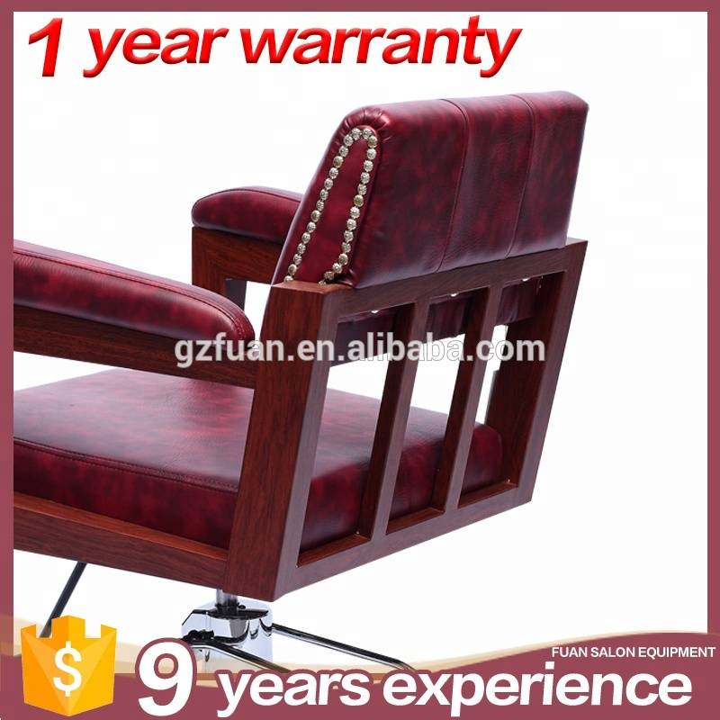 Fashion stainless steel armrest hair salon hairdressing chairs red barber chair for sale
