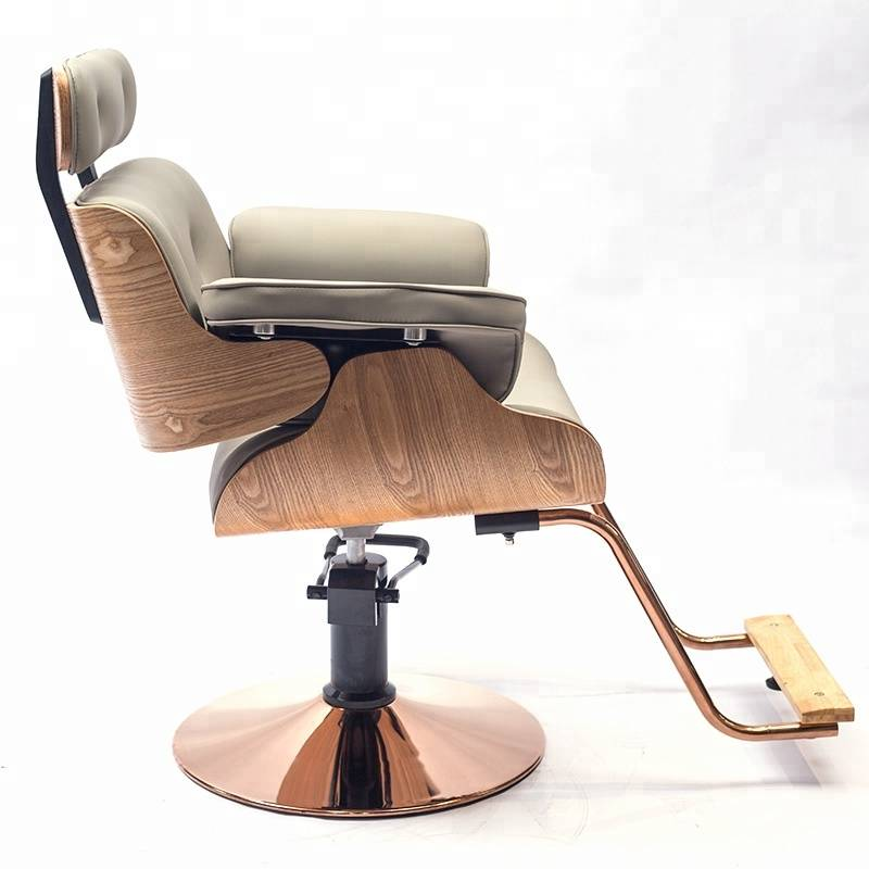 Italy style high density sponge gold painting base gold color and solid wood armrest hair cutting unique salon styling chairs