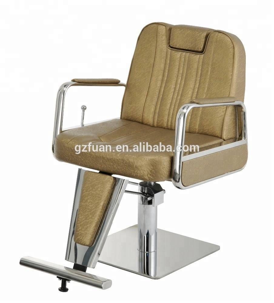 Stainless steel wholesale french style cutting hair chair barber shop styling chair salon chair with reclining backrest