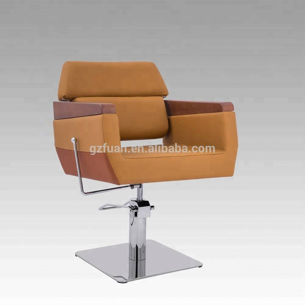 Beauty salon equipment no reclining wood armrest leather stylist hairdressing hair cutting chair men's salon chair 008-03 Featured Image