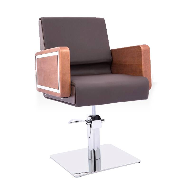 China beauty supply wholesale hydraulic pump solid wood armrest barber chairs portable hairdressing styling chairs