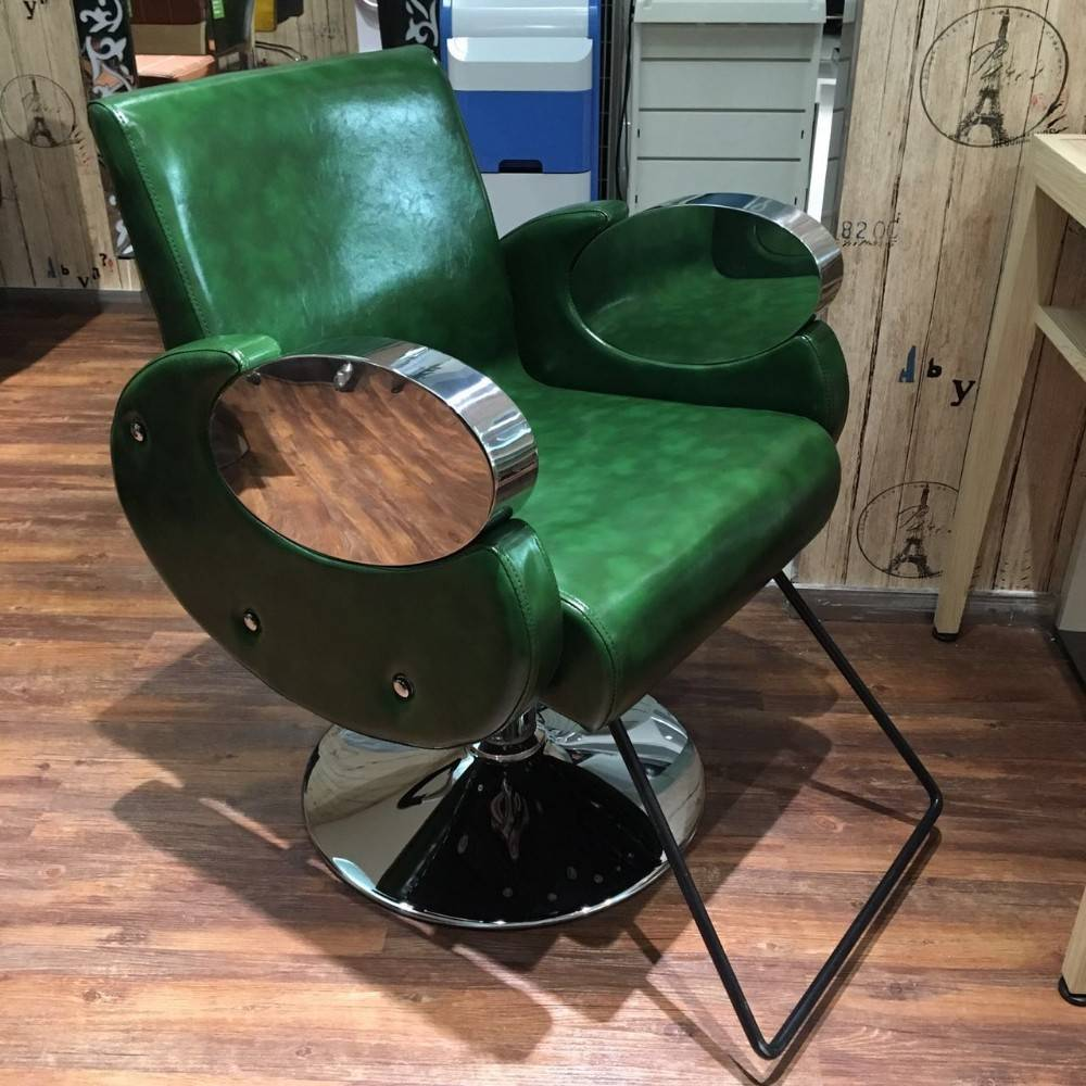 Simple green color stainless steel armrest styling chair hairdressing chair 008-11
