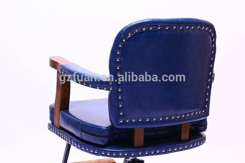 Durable blue synthetic leather retro barber chairs for sale