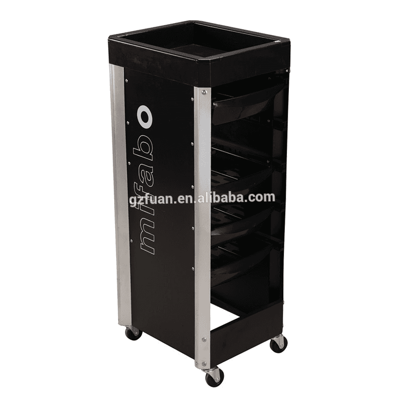 Barber shop furniture factory price black drawer storage trolley hair salon trolley cart