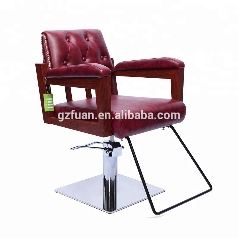 Fashion stainless steel armrest hair salon hairdressing chairs red barber chair for sale Featured Image