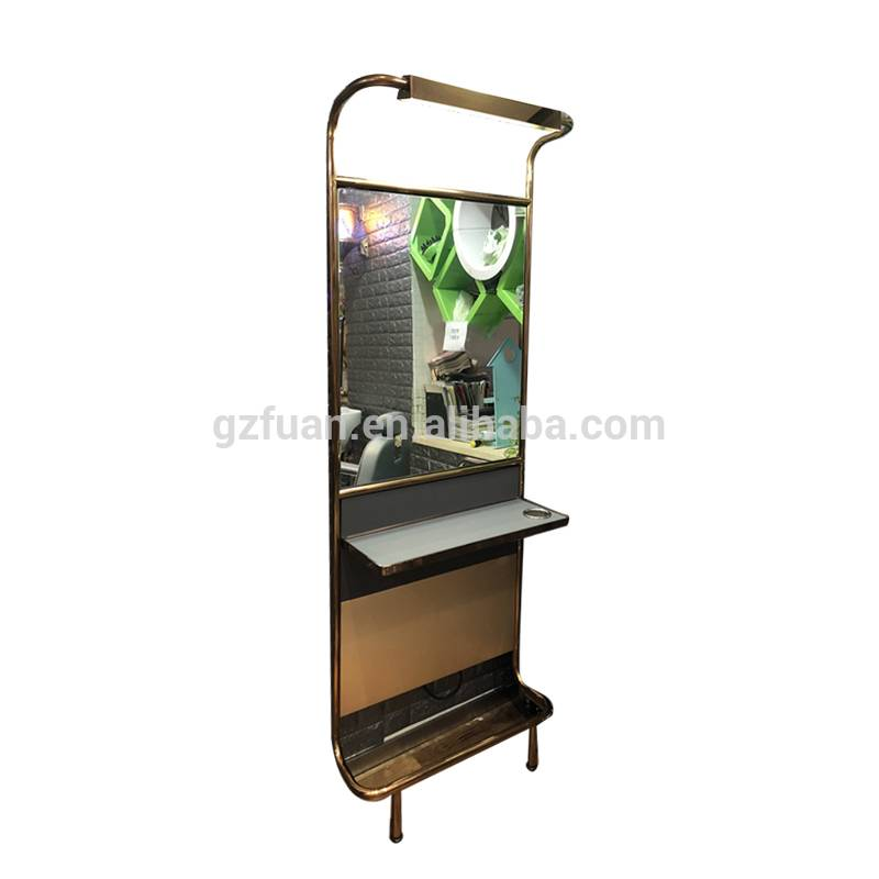 Fashion modern design salon furniture Single side wall mounted mirror styling hair salon mirror station with solid wood table