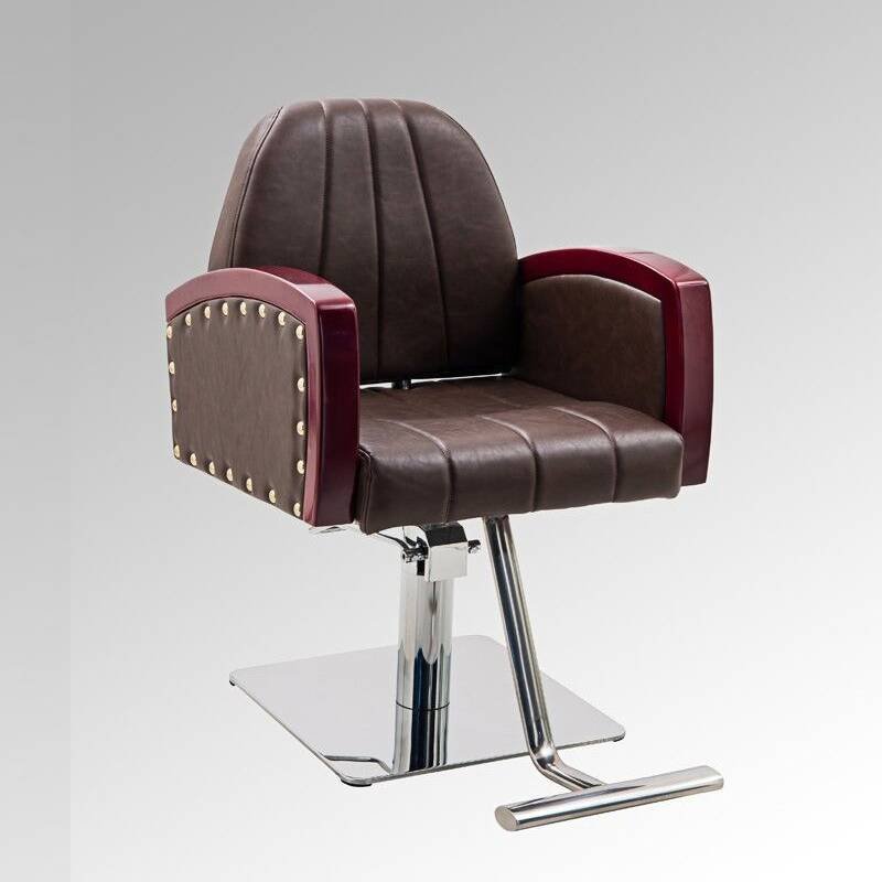 Beauty shop furniture stainless steel square base solid wood armrest reclining salon chair hydraulic hair styling chairs