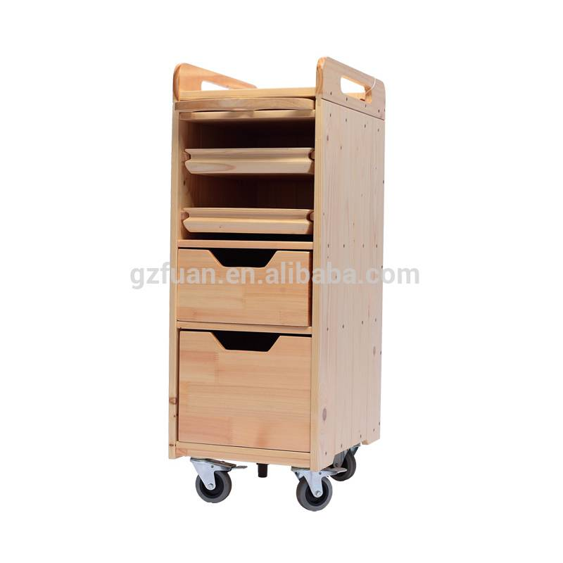 Wholesale custom solid wood frame waterproof salon storage cart hair salon trolley