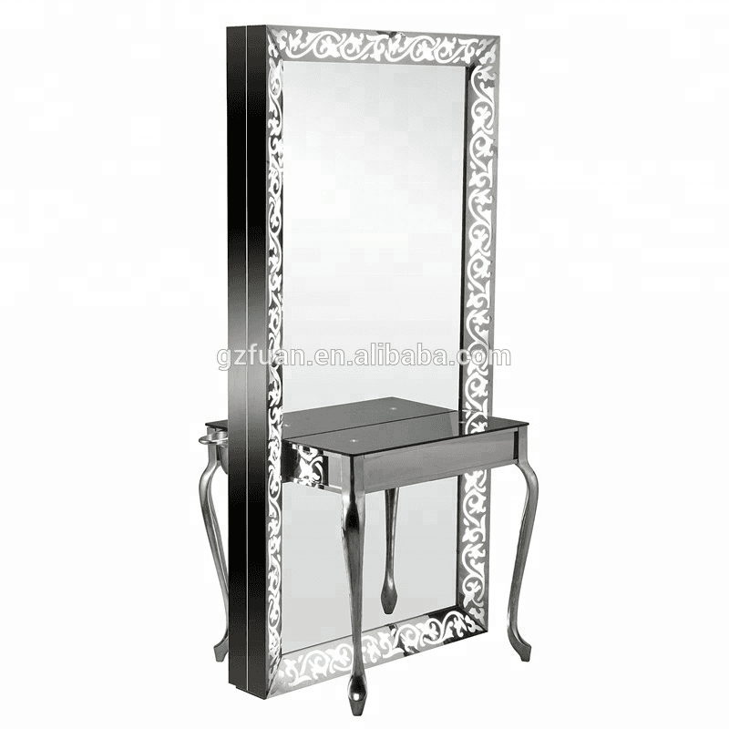 Manufacturer supply price acryl table surface double-sided hair salon mirrors cheap modern hairdressing salon styling stations