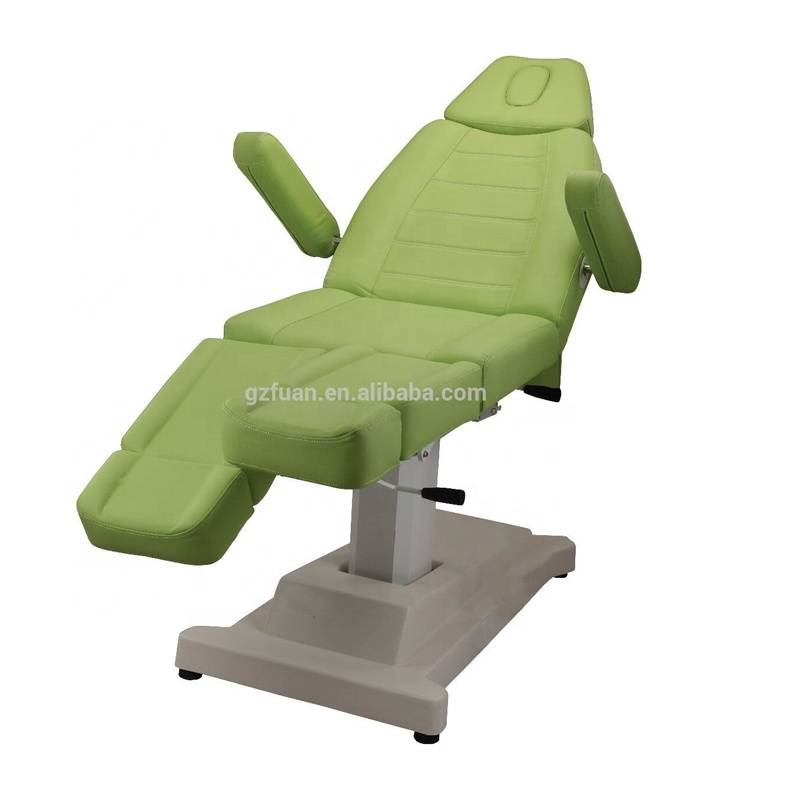 Beauty salon ajustable armrest folding and portable PU leather electric control spa massage table chair facial bed for sale
