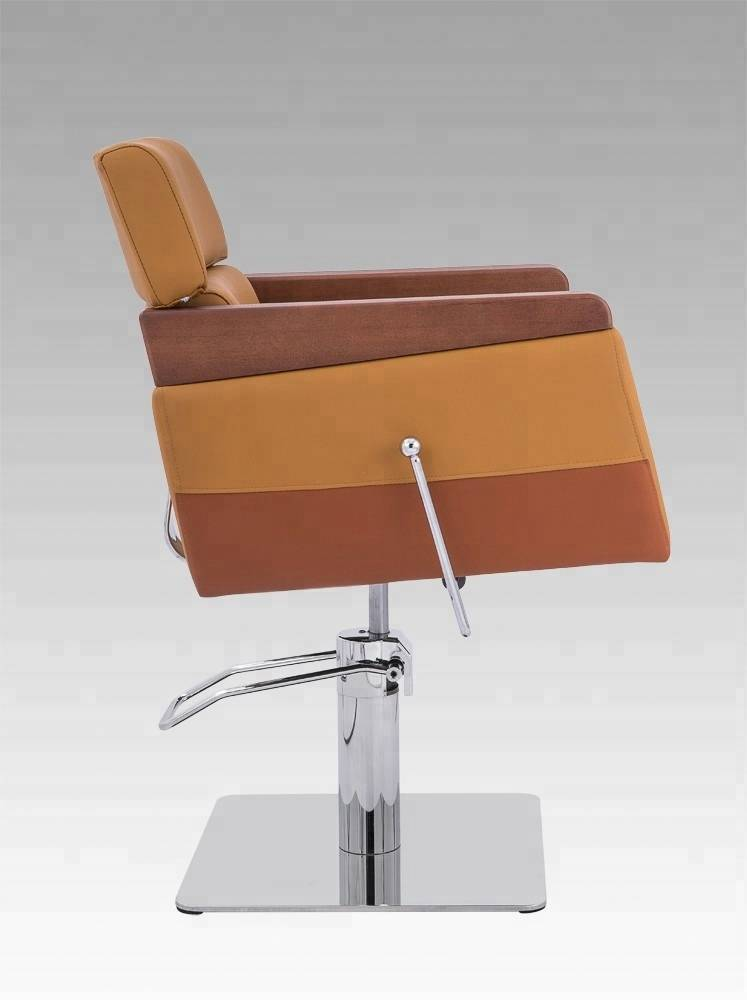 Beauty salon equipment no reclining wood armrest leather stylist hairdressing hair cutting chair men's salon chair 008-03