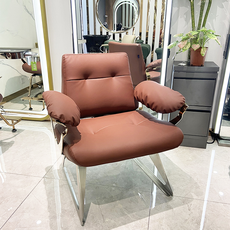 comfortable fashion leather sofa set rose gold salon waiting room chair